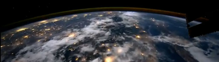 Flying over the earth in low orbit